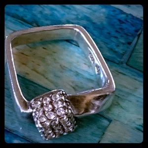 925 Silver Square Ring w Smaller Square Of…